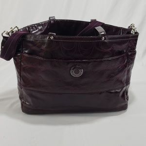 Coach Maroon Patient Leather Crossbody Tote Bag